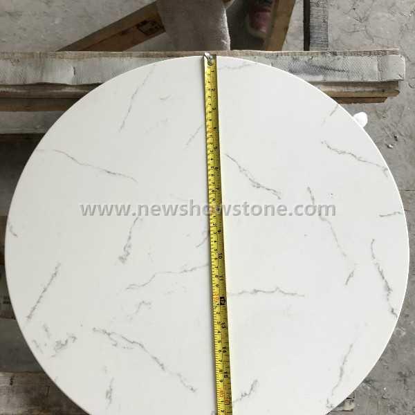 White artificial quartz round dining table top