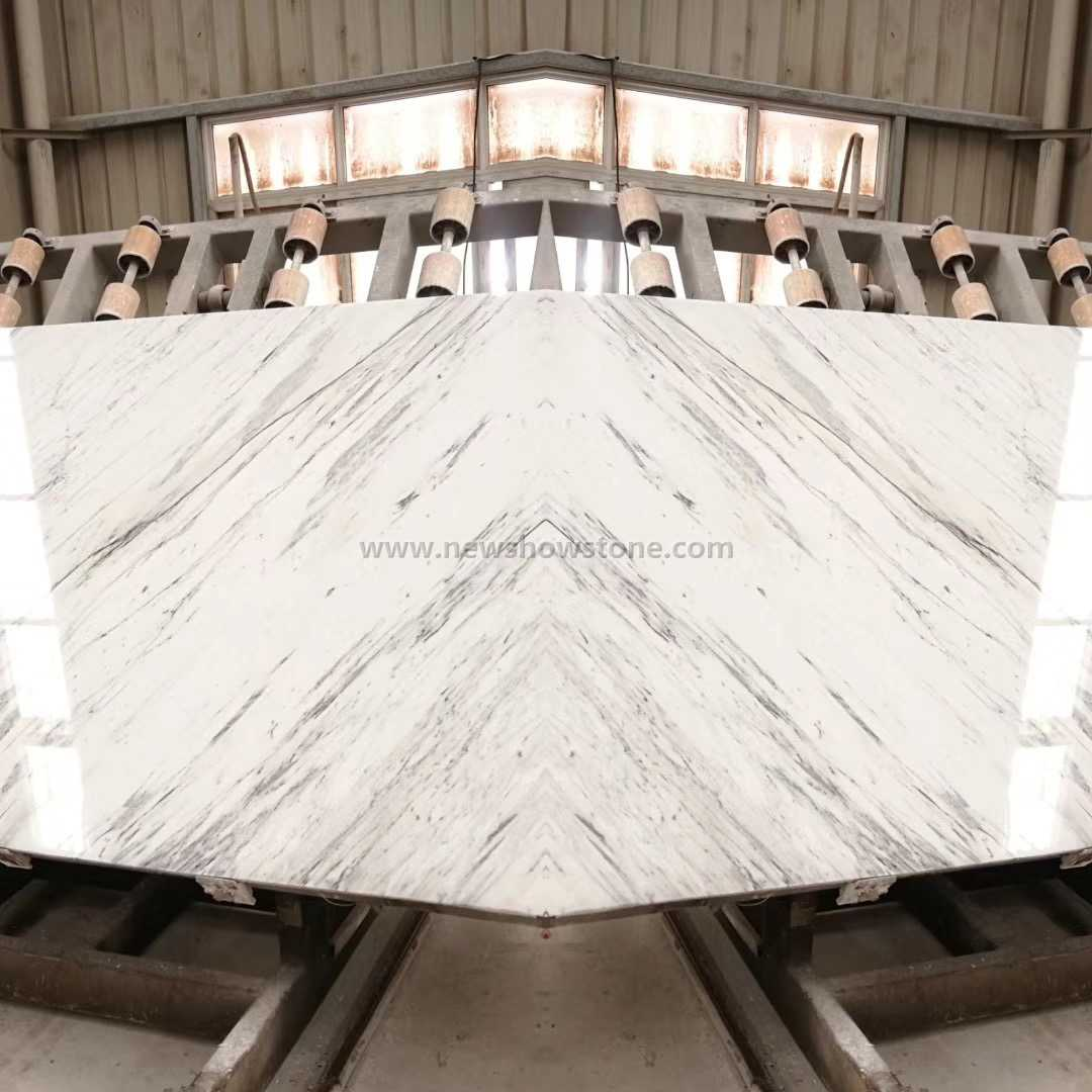 Statuario white marble book match